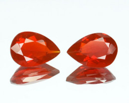~PAIR~ 1.13 Cts Natural Orangish Red Fire Opal Pear Cut Mexico