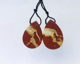 45.5cts 2pcs lovely natural red river jasper pendant beads (A250)