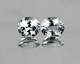5.37 tcw Gorgeous IF Clarity Untreated Natural White Sapphire Pair