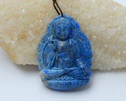 149.5cts New lapis lazuli carved buddha gemstone  beads  (A265)
