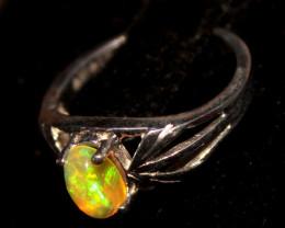 Ethiopian Welo Fire Opal 925 Sterling Silver Ring Size (6.5 US) 212