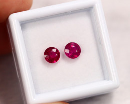 1.56cts Earrings Pair 5mm 2pcs Blood Red Colour Ruby