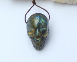 98.5cts carved skull pendant labradorite gemstone semi-gem (A278)