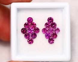 2.65Ct Natural Round Cut Rhodolite Garnet Earrings Set ~ B29/8