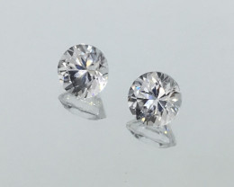 2.24 Carat Zircon Diamond White Pair - Precision Cut - Quality !