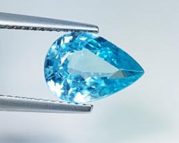 "3.66 ct ""IGI Certified"" Exclusive Gem Pear Cut Natural Blue Zirco"