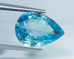 "7.78 ct ""IGI Certified"" Top Quality Gem Pear Cut Natural Blue Zir"