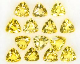 ~LOVELY~ 5.44 Cts Natural Yellow Beryl 5.0 mm Trillion Cut 14 Pcs Brazil