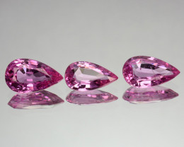 ~SET~ 1.78 Cts Natural Sapphire Sweet Pink Pear Cut 3 Pcs Sri Lanka