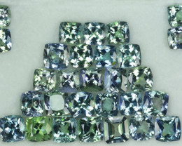 23.30 Cts Natural Tanzanite Double Shade Blue-Green 5.5 mm Cushion 29 Pcs