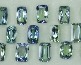 13.39 Cts Natural Tanzanite Double Shade Blue-Green Cushion 15 Pcs Tanzania