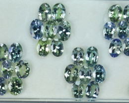 16.60 Cts Natural Tanzanite Double Shade Blue-Green Oval 29 Pcs Tanzania