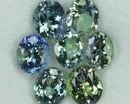 7.20 Cts Natural Tanzanite Double Shade Blue-Green 6.5x5.5 mm Oval 7 Pcs