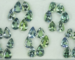 17.10 Cts Natural Tanzanite Double Shade Blue-Green 6x4 mm Pear 30 Pcs