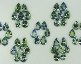 34.84 Cts Natural Tanzanite Double Shade Blue-Green 7x5 mm Pear 46 Pcs