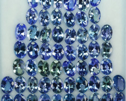 43.95 Cts Natural Tanzanite Double Shade Blue-Green 7x5 mm Oval 56 Pcs
