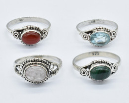 4 Pcs CERTIFIED NATURAL UNTREATED GEMSTONES WHOLESALE RING PARCEL 925 STERL
