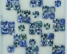 35.07 Cts Natural Tanzanite Double Shade Blue-Green 5.0 mm Cushion 50 Pcs