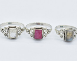 3 Pcs CERTIFIED NATURAL GEMSTONES WHOLESALE RING PARCEL 925 STERL