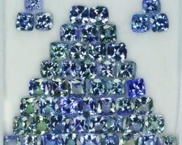 41.45 Cts Natural Tanzanite Double Shade Blue-Green 5.0 mm Cushion 50 Pcs