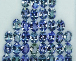 42.24 Cts Natural Tanzanite Double Shade Blue-Green 7.5x5.5 mm Oval 38 Pcs