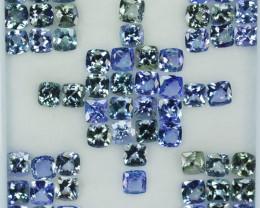 35.27 Cts Natural Tanzanite Double Shade Blue-Green 5.0 mm Cushion 60 Pcs