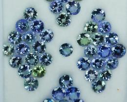 31.16 Cts Natural Tanzanite Double Shade Blue-Green 5.0 mm Round 43 Pcs