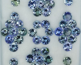 29.40 Cts Natural Tanzanite Double Shade Blue-Green 5.0 mm Round 42 Pcs
