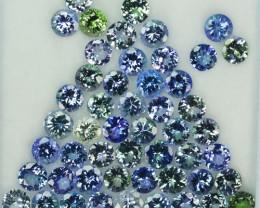 36.63 Cts Natural Tanzanite Double Shade Blue-Green 5.5 mm Round 51 Pcs