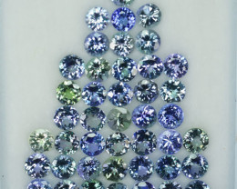 30.82 Cts Natural Tanzanite Double Shade Blue-Green 5.5 mm Round 43 Pcs