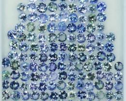 34.70 Cts Natural Tanzanite Double Shade Blue-Green 4.0 mm Round 132 Pcs
