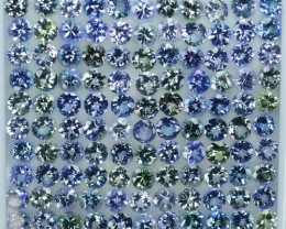42.42 Cts Natural Tanzanite Double Shade Blue-Green 4.5 mm Round 110 Pcs