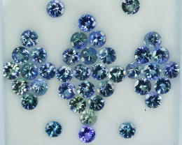 24.23 Cts Natural Tanzanite Double Shade Blue-Green 5.0 mm Round 39 Pcs