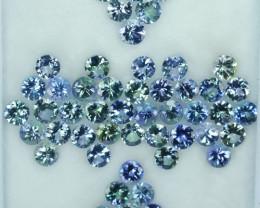 29.68 Cts Natural Tanzanite Double Shade Blue-Green 5.0 mm Round 52 Pcs