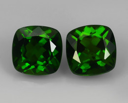 2.35 Cts Eye Catching Natural Rich Green Chrome Diopside Cushion Pair