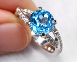 19.95cts Blue Topaz Sterling 925 Silver Ring US 5.5