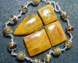 Bracelet designs ~ tiger stones  ~ nice 98.5 silvers 84.15cts