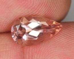 2.19 Cts Natural Peach Pink Morganite Pear Brazil