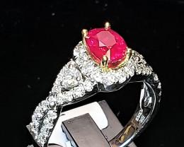 1.09ct Burma Ruby Ring