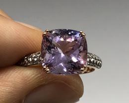 (LBA) Cert. $1450 Nat 4.29cts. AAA Amethyst Sapphire Ring 10K