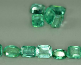 12 Pieces 7.30 Carats Oval & Emerald Cut Natural Colombian Emerald Lot
