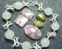 crafted rose QUARTZ beaded pure silver total 89.05 cts