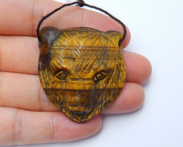 90cts New natural tiger eyes gemstone handcarved bear head pendant (A336)