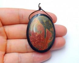 88cts Hot multi color jasper and obsidian intarsia pendant beadsemi-gem (A3
