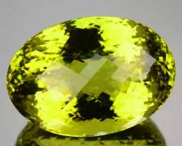 118.84 Cts Natural Prasiolite Quartz Lemon Yellow Oval Checkerboard Brazil