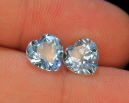 Heart Shape Pair Of Swiss Blue Topaz For Collector's Gem