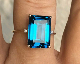 (B15) Magnificent $2375 Nat. 9.56ct Designer Blue Topaz  Ring 10K YG YG