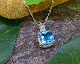Natural Blue Topaz 925 Sterling Silver Pendant (SSP0457 )