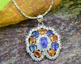 Natural Tanzanite & Sapphire 925 Sterling Silver Pendant (SSP0455 )