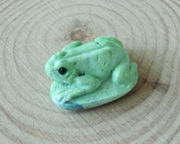 37.5cts  handcarved green turquoise gemstone frog cabochon (A352)
